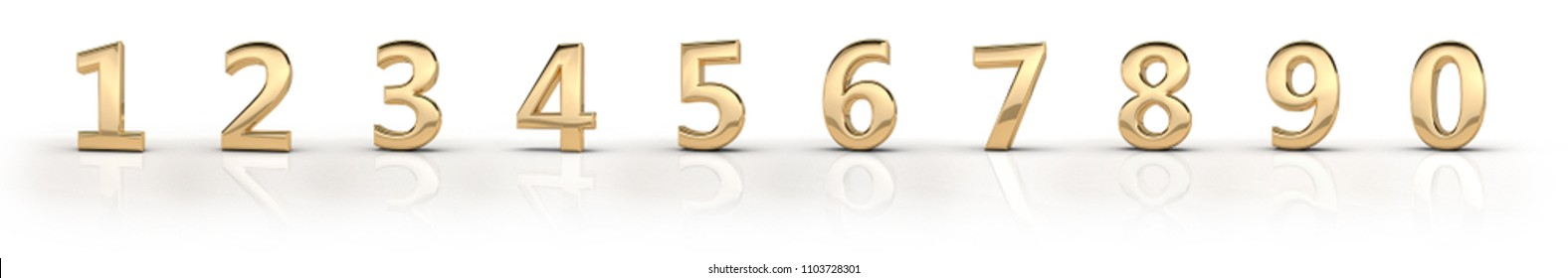 3d render (illustration) of gold metal characters. Numbers, dates, letters, characters. One, two, three, four, five, six, seven, eight, nine, zero. 1,2,3,4,5,6,7,8,9,0. On celebration. Happy birthday.