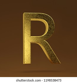 3D render Illustration. golden capital letter - R.