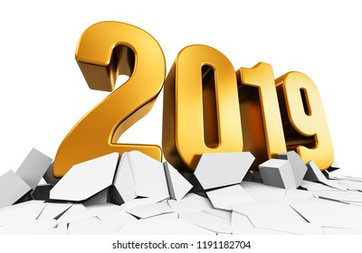 3D render illustration of golden creative abstract New Year 2019 holiday beginning celebration concept on cracked surface isolated on white background