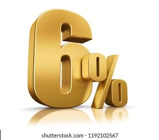 3d render illustration. Golden six percent on a white background.