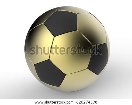 6b1ab3021 3 D Render Illustration Golden Soccer Ball Stock Illustration ...