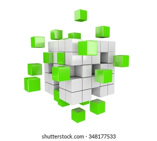 3D render illustration -  green and white cubes falling apart