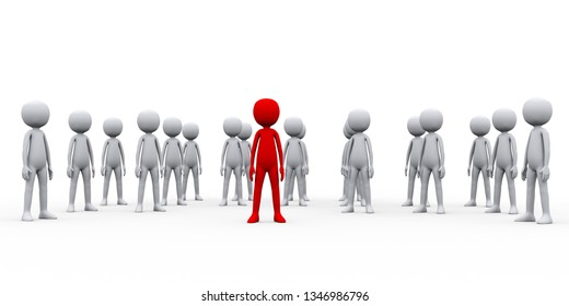 3d render illustration of group of people their leader boss