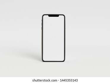 3d render illustration hand holding the white smartphone with full screen and modern frame less design - isolated on white background