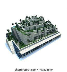 3D render illustration of hanging garden wonders of world