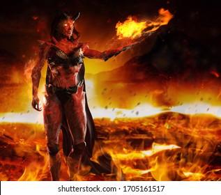 3d render illustration of hellish demon goddess standing and casting fire spell on burning inferno background.
