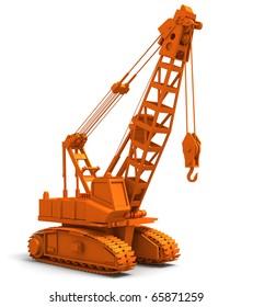 3D render illustration of industrial construction crane