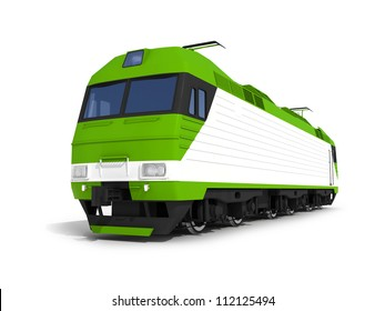 3d render illustration isolated on white: Perspective view of the modern green electric locomotive