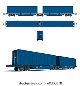 3d render illustration isolated on white: Projections and perspective view of the modern blue container twin carriage