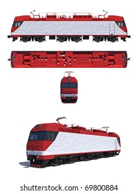 3d render illustration isolated on white: Projections and perspective view of the modern electric locomotive