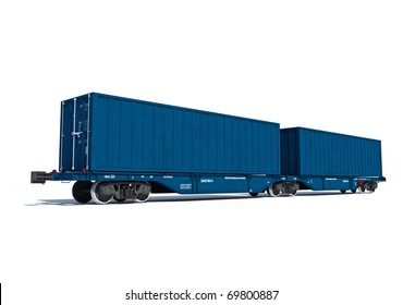 3d render illustration isolated on white: Perspective view of the modern blue container twin carriage