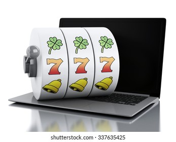 3d render illustration. Laptop with slot machine. Casino online games concept. Isolated white background