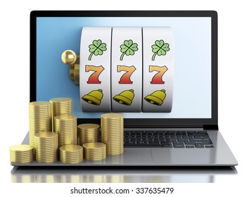 3d render illustration. Laptop with slot machine and gold coins. Casino online games concept. Isolated white background