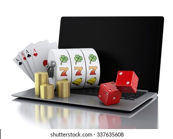 3d render illustration. Laptop with slot machine, dice, cards and gold coins. Casino online games concept. Isolated white background
