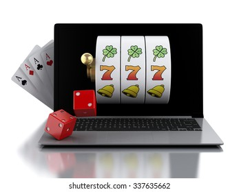 3d render illustration. Laptop with slot machine, dice and cards. Casino online games concept. Isolated white background