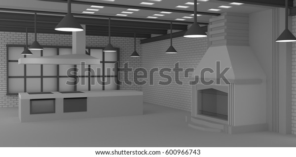 3D render, 3d illustration, loft-style interior, brick wall, fireplace, steel crossbars on the ceiling, sliding door on a roller suspension.