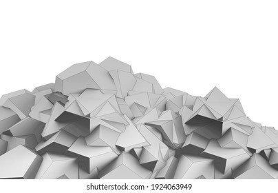 3d render illustration of lowpoly geometrical shape hill.
