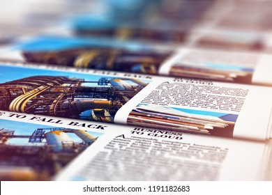 3D render illustration of the macro view of printing color daily business newspapers or news papers on the offset print machine in typography with selective focus bokeh blur effect