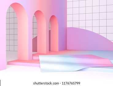 3d render illustration in modern geometric style. Arch and stairs in trendy minimal interior. Gradient pastel colors background for banners or product presentation. Abstract composition.