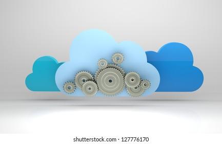 3d render illustration of online cloud-based digital storage at work.