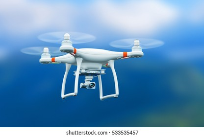 3D render illustration of professional remote controlled wireless RC quadcopter drone with 4K video and photo camera for aerial photography flying in the air outdoors with selective focus effect