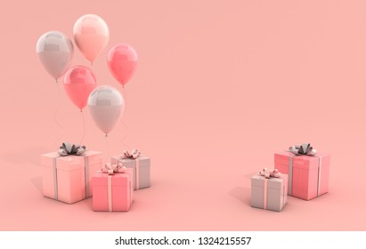 3d render illustration of realistic colorful balloons and gift box with bow on pink background. Empty space for party, promotion social media banners, posters.