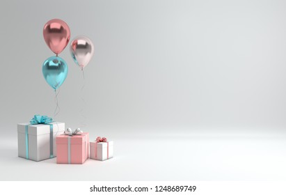 3d render illustration of realistic glossy pink, blue, silver and rose gold balloons and white gift box with ribbon bow on white background. Empty space for birthday, party, promotion posters