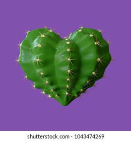 3d render illustration of a realistic green Cactus in a heart shape concept for Valentine'day, broken heart, love it's hurt, painful love, isolated on purple.