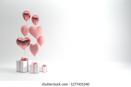 3d render illustration of realistic pastel pink and rose gold balloons and gift box with bow on white background. Empty space for party, promotion social media banners, posters. Heart shape balloons