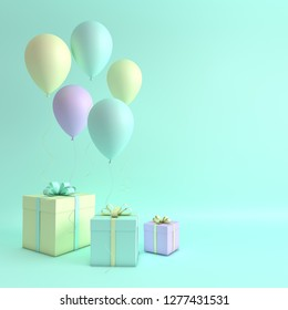 3d render illustration of realistic pink, purple and yellow balloons and gift box with bow on turquoise background. Empty space for party, promotion social media banners, posters, pastel colors