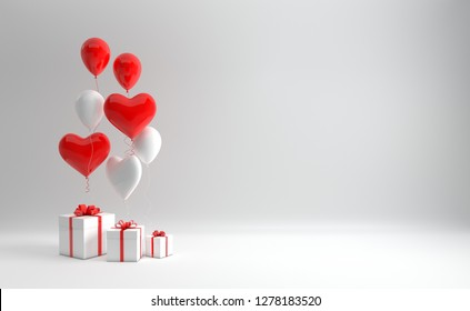 3d render illustration of realistic red and whited balloons and gift box with bow on white background. Empty space for party, promotion social media banners, posters. Heart shape balloons