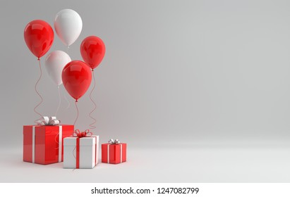 3d render illustration of realistic white and red glossy balloons and gift box with bow on white background. Empty space for party, promotion social media banners, posters.