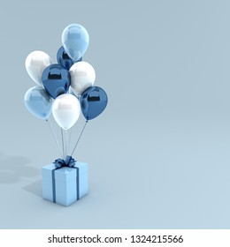 3d render illustration of realistic white and blue balloons and gift box with bow on blue background. Empty space for party, promotion social media banners, posters.