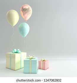 3d render illustration of realistic yellow, turquoise and marble balloons and gift box with bow on white background. Empty space for party, promotion social media banners, posters.