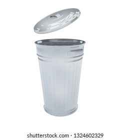 3D Render Illustration Of Retro Galvanized Trash Can Isolated On White