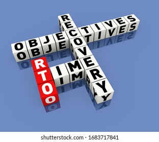 3d render illustration of rto recovery time objectives crossword