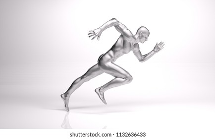 3D Render : an illustration of a running man with silver texture on his body