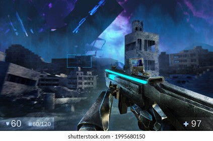 3d render illustration of sci-fi first person shooter game with soldier hands holding futuristic weapon on alien invaded ruined city battlefield background.