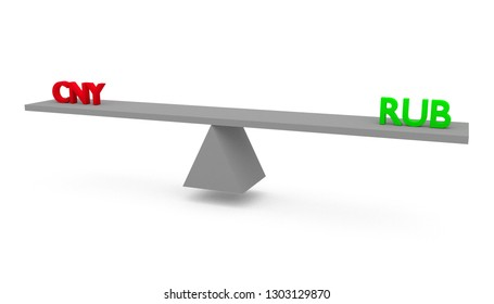 3D render illustration of seesaw with Chinese Yuan (CNY) versus (vs) Russian Ruble (RUB) isolated on white background. Economical and financial situation in the world.