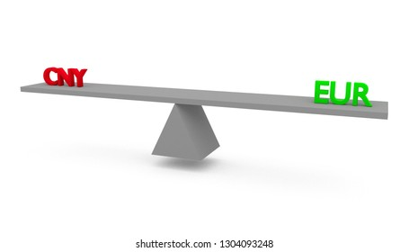 3D render illustration of seesaw with Chinese Yuan (CNY) versus (vs) European Union (EU) euro (EUR) isolated on white background. Economical and financial situation in Europe and Asia.