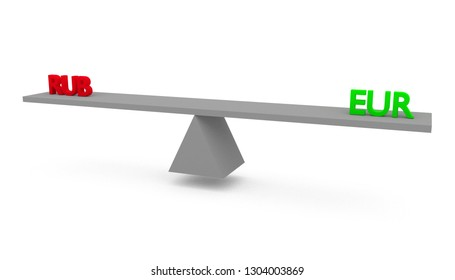 3D render illustration of seesaw with Russian ruble (RUB) versus (vs) European Union (EU) euro (EUR) isolated on white background.