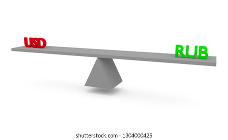 3D render illustration of seesaw with United States of America (USA) dollar (USD) versus (vs) Russian Ruble (RUB) isolated on white background.