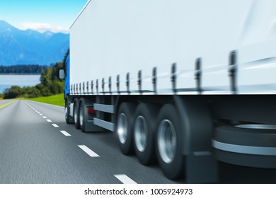3D render illustration of the semi-truck driving the highway with motion blur effect
