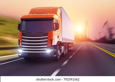 3D render illustration of the semi-truck driving the highway in sunset with motion blur effect