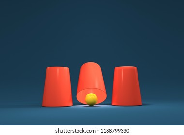 3D render Illustration. A shell game: three thimbles and a ball.