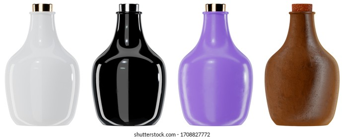 3d render illustration of small bottles mockups isolated on white background. Ceramic, plastic and clay variants. Front view.