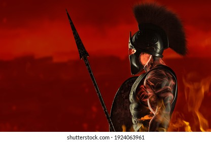 3d render illustration of spartan fire king demigod in armor and helmet, holding spear and shield on red background.