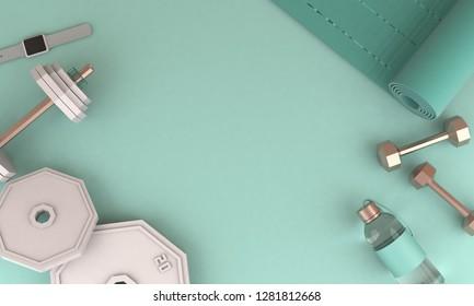 3D render illustration, sport fitness equipment, female concept, yoga mat, bottle of water, dumbbells, watches