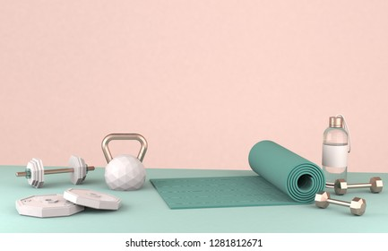 3D render illustration, sport fitness equipment, female concept, yoga mat, bottle of water, dumbbells, weights,
