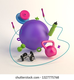 3D render illustration, sport fitness equipment, female concept, bottle of water, dumbbells, weights, fitness ball, skipping rope